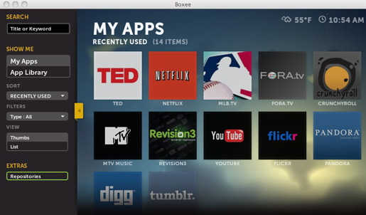 Find the TED App in Boxee's App Library