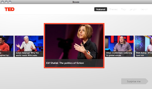 Browse TEDTalks in Boxee's elegantly simple interface.