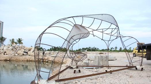 DNA Sculpture awaiting installation at Puerto Cancun, July 2011