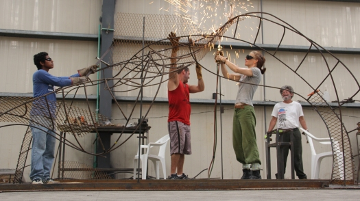 Creating the sculpture with the team