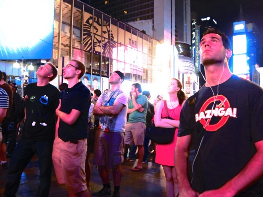 Times Square watches Curiosity rover land