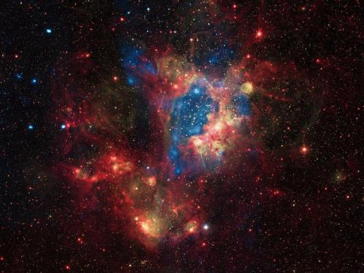 This composite image shows a superbubble in the Large Magellanic Cloud (LMC), a small satellite galaxy of the Milky Way located about 160,000 light years from Earth.