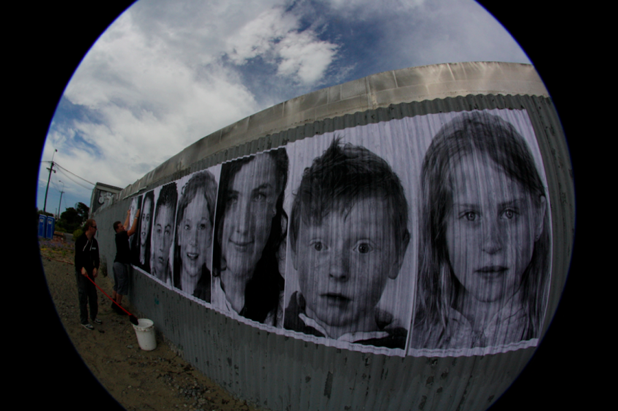 This school in Christchurch, New Zealand, was hit hard by an earthquake, and the community lacks the funds to rebuild it. To increase support, participants of Inside Out pasted posters of the children who attended the school, and their grandparents who -- generations ago -- also studied there.