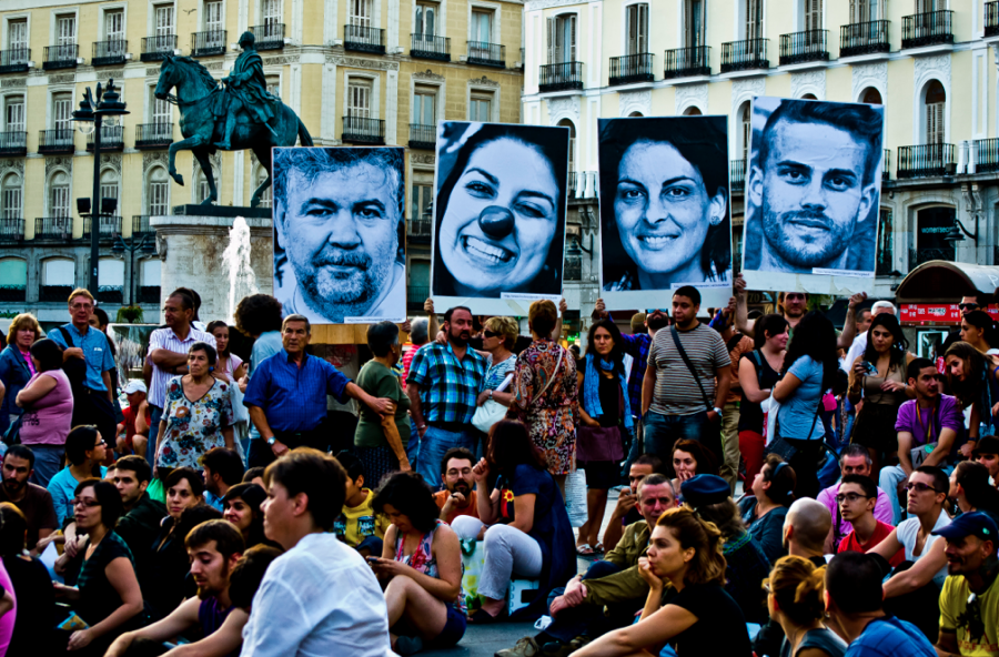 As a form of non-violent protest in Madrid, Spain, these posters were used to display the faces of those who are being harmed by living under corrupt government.