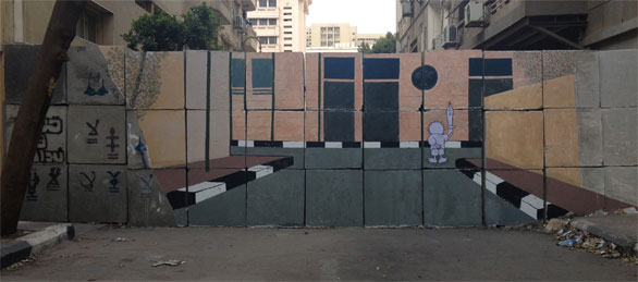 The first wall I sprayed in front of the Ministry of Interior. This is my most recent intervention.