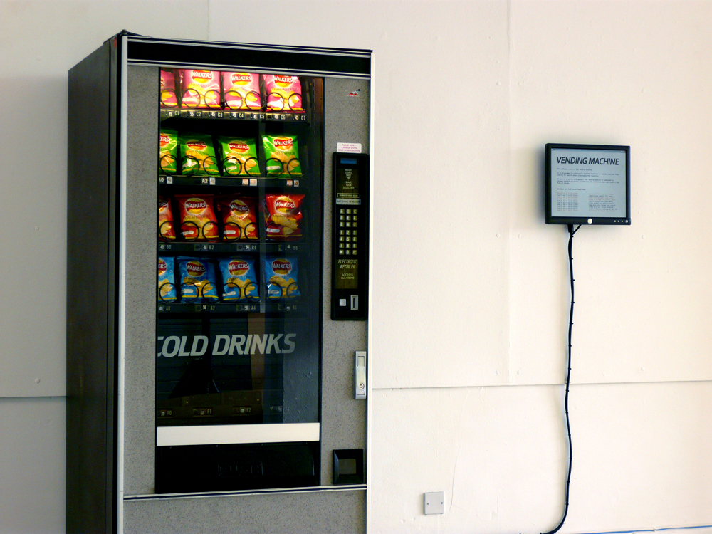 Ellie Harrison's piece Vending Machine, chosen by Julie Freeman for exhibition at the Open Data Institute, dispenses free crisps in response to recession data. Photo:  Ellie Harrison