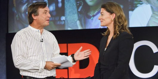 Melinda French Gates (right) speaks to TED's Chris Anderson. CourtesyoftheGatesFoundation