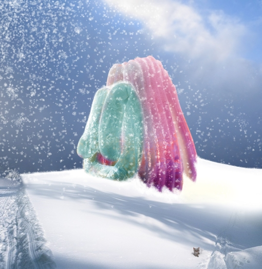 """""""Ice caves of the Polar Regions are a rare treat to those who travel there. Created by hundreds of years of accumulation and erosion, to enter an ice cave is to be immersed in color, color that only ice can create. Our Ice Palace attempts to get close to this intense environment by creating vertical thick walls of dyed ice."""" Photo: Bittertang Farm"""