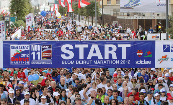 Participants gather for the start of the 2012 Beirut Marathon Photo: Anwar Amro/AFP/Getty Images