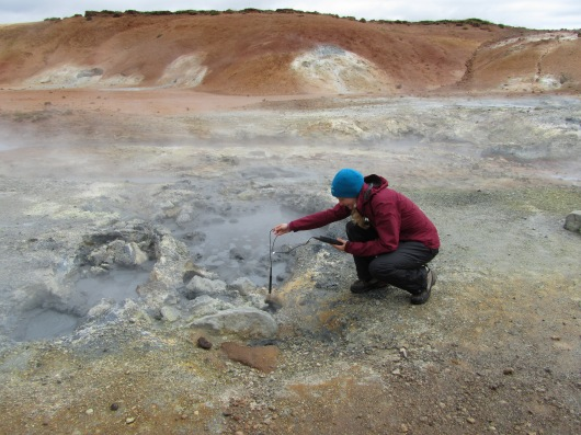 Testing the temperature and acidity of hot springs in Iceland, looking for life thriving within this extreme environment.