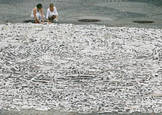 In April 2012, 50,000 bones were laid in Congo Square in New Orleans. Photo: One Million Bones