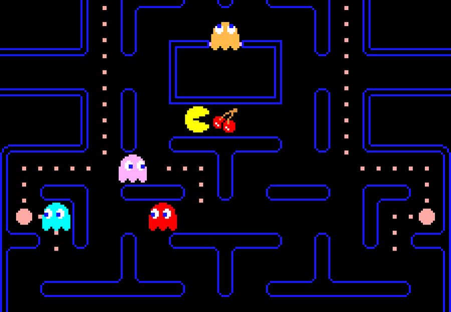 """1. Pac-Man. """"It goes without saying, but let's say it: an absolute milestone, not only because it was inspired by pizza and the ghosts are so cute one almost roots for them, but also because it stands as the archetypical maze game."""" Toru Iwatani (Japanese, born 1955). Publisher: NAMCO BANDAI Games Inc. 1980-1981. Video game. Gift of NAMCO BANDAI Games Inc. © 2012 NAMCO BANDAI Games Inc."""