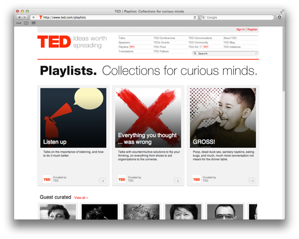 """TED playlists are """"collections for curious minds""""."""