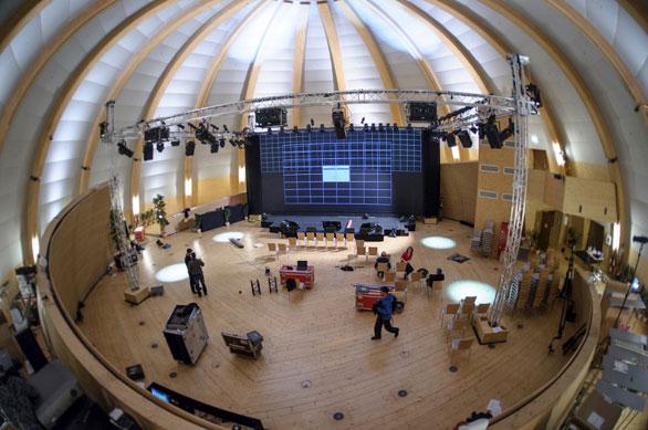 TEDxCERN set-up, in progress. Photo: TEDxCERN