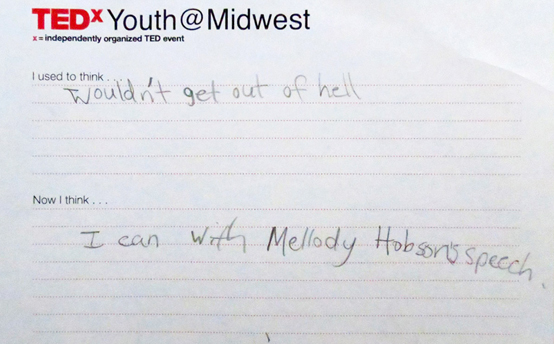 One of the amazing comment carders from TEDxYouth@Midwest.