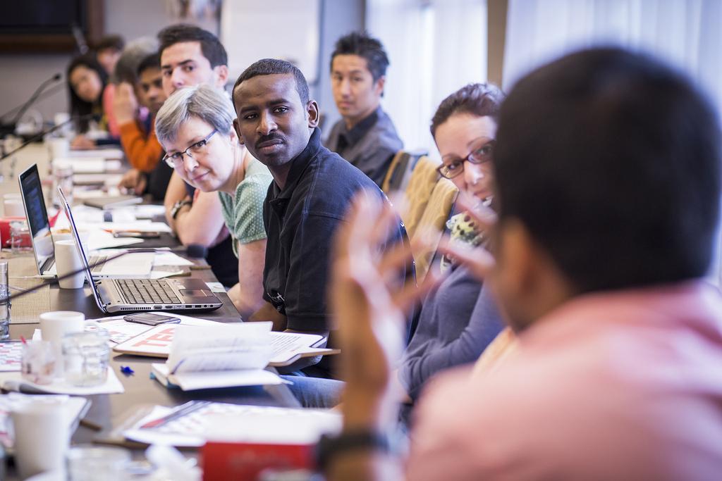 Translators discuss the future of the program. Photo: Ryan Lash