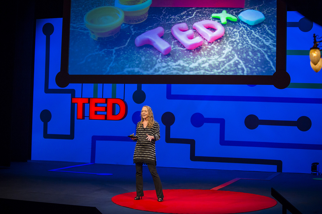 Lara Stein takes the TEDx stage, to share where the program is headed in the next year. Photo: Bret Hartman