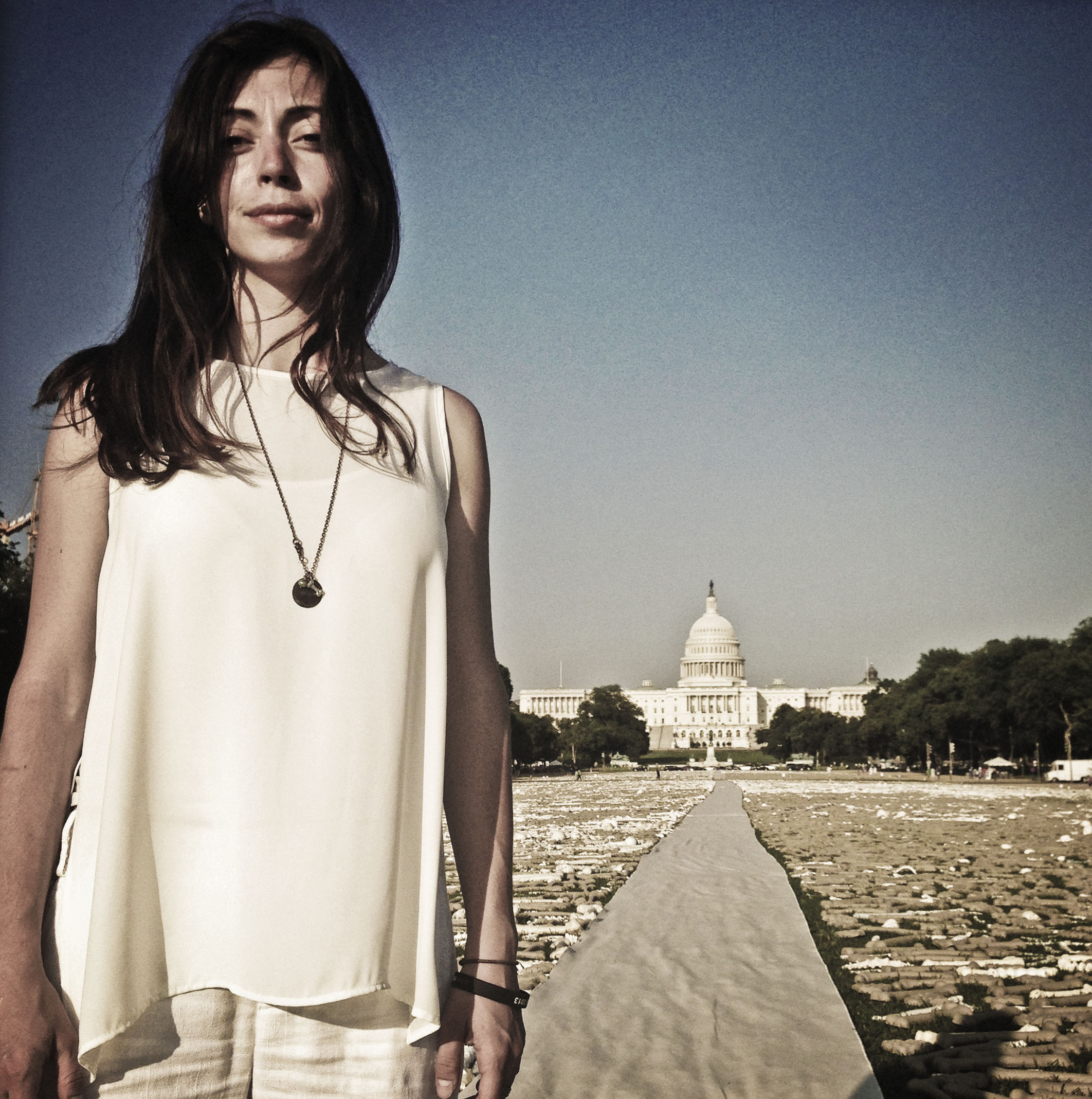 Naomi Natale, at the site of her One Million Bones installation on the National Mall in Washington DC. Photo: Teru Kuwayama