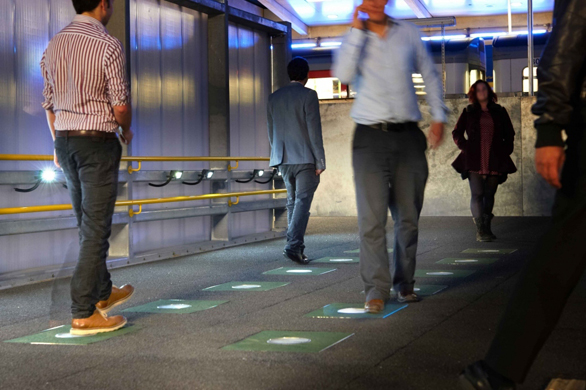 PaveGen floor tiles catch the energy of everyday walking. Here, they appear at London's West Ham Underground station. Photo: Courtesy of PaveGen