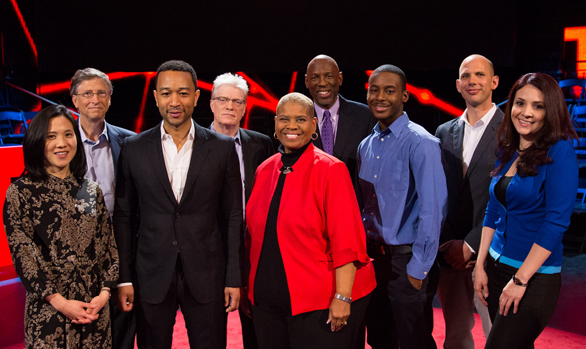 Rita Pierson, center in red, stands with fellow speakers from TED Talks Education. From left, Dr. Angela Lee Duckworth, Bill Gates, host John Legend, Sir Ken Robinson, Dr. Pierson, Dr. Geoffrey Canada, Malcolm London, Ramsey Muhallam and Pearl Arredondo. Photo: Ryan Lash