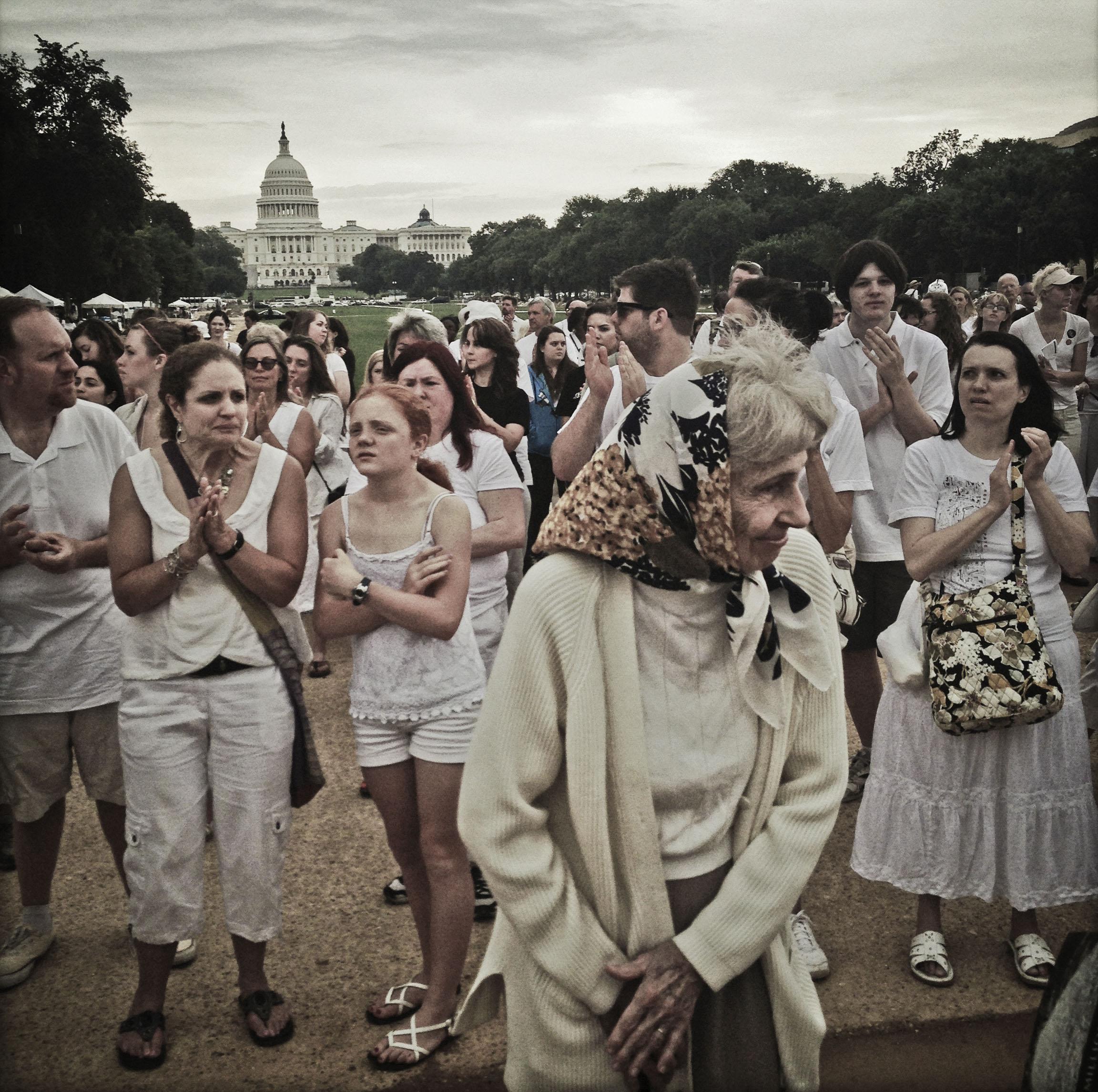 Participants at the One Million Bones installation on the National Mall in Washington DC. Photo: Teru Kuwayama