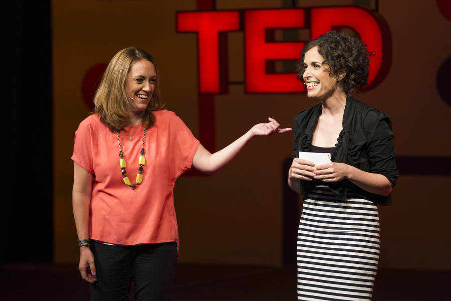 TED's Kelly Stoetzel and June Cohen, TEDU's charming emcees. Photo: Ryan Lash