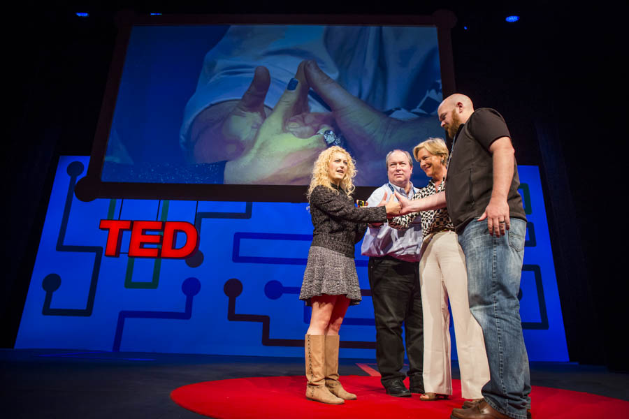 Jane McGonigal introduces massively multiplayer thumbwrestling. Photo: Ryan Lash