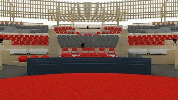 A rendering of what speakers will see from the TED stage: flexible seatings areas where attendees can lean forward or lean back.