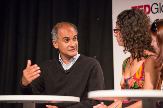 In conversation about living in several languages and locations, Pico Iyer talks with a panel of Open Translation Project volunteers at TEDGlobal 2013. Photo: Ryan Lash