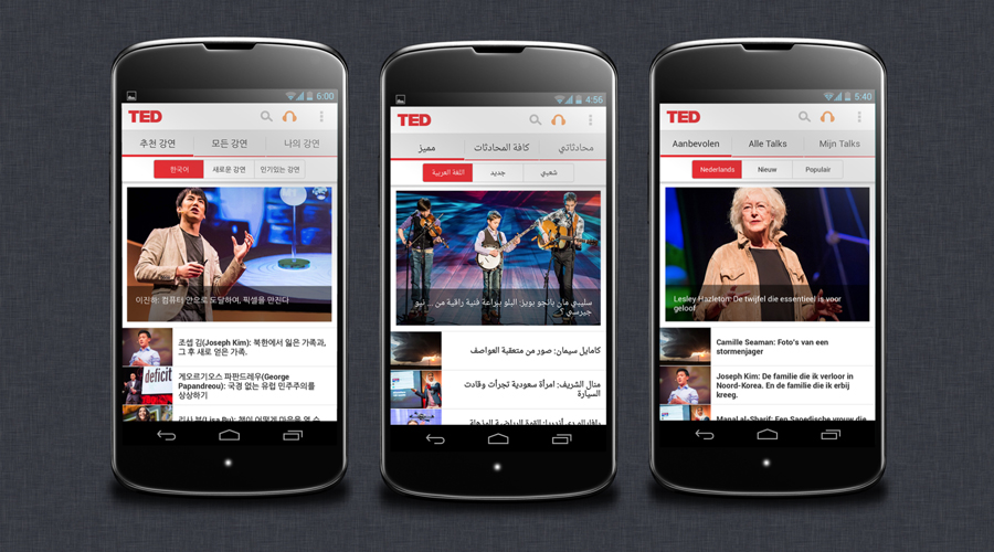 TED's Android app, localizes in Korean, Arabic and German.