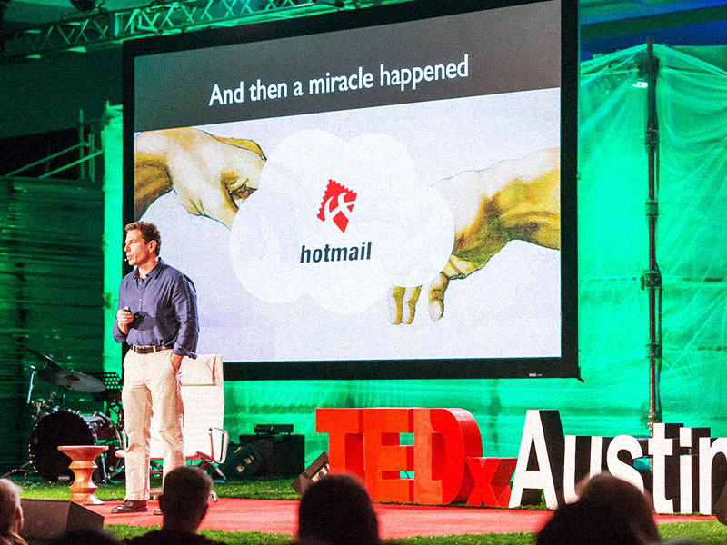 Joel Selanikio shares his website, which is like a Hotmail for global health data, at TEDxAustion. Photo: Jerry Hayes