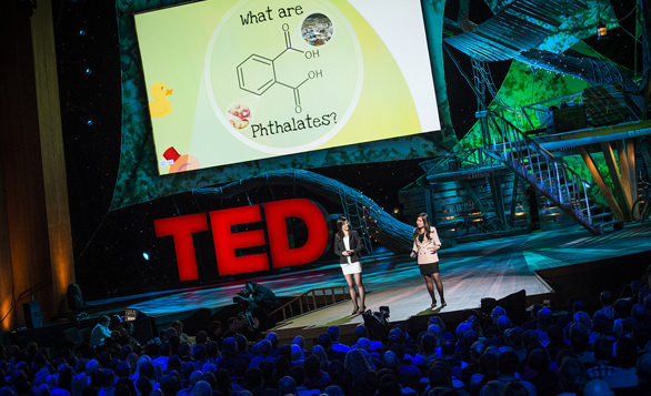 Teen scientists Miranda Wang and Jeanny Yao share an incredible use of bacteria -- to break down the pthalates in plastic. Photo: James Duncan Davidson