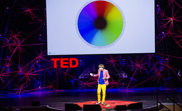 Neil Harbisson explains why he can hear color at TEDGlobal 2012. Photo: James Duncan Davidson