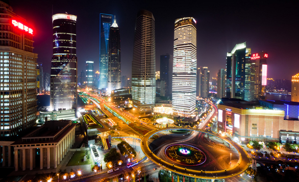 The Shanghai Financial District as seen from the Oriental Pearl. Photo: Sjekster