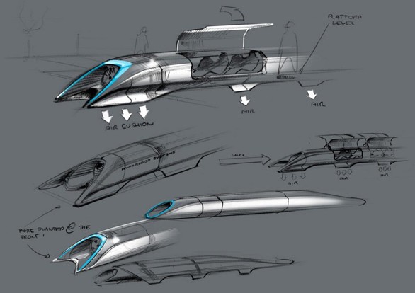 A glimpse at the slope-fronted capsules of the Hyperloop. Image: Tesla Motors