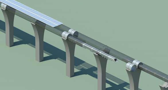 A look at what the Hyperloop's above-ground tubes will look like. Image: Tesla Motors.