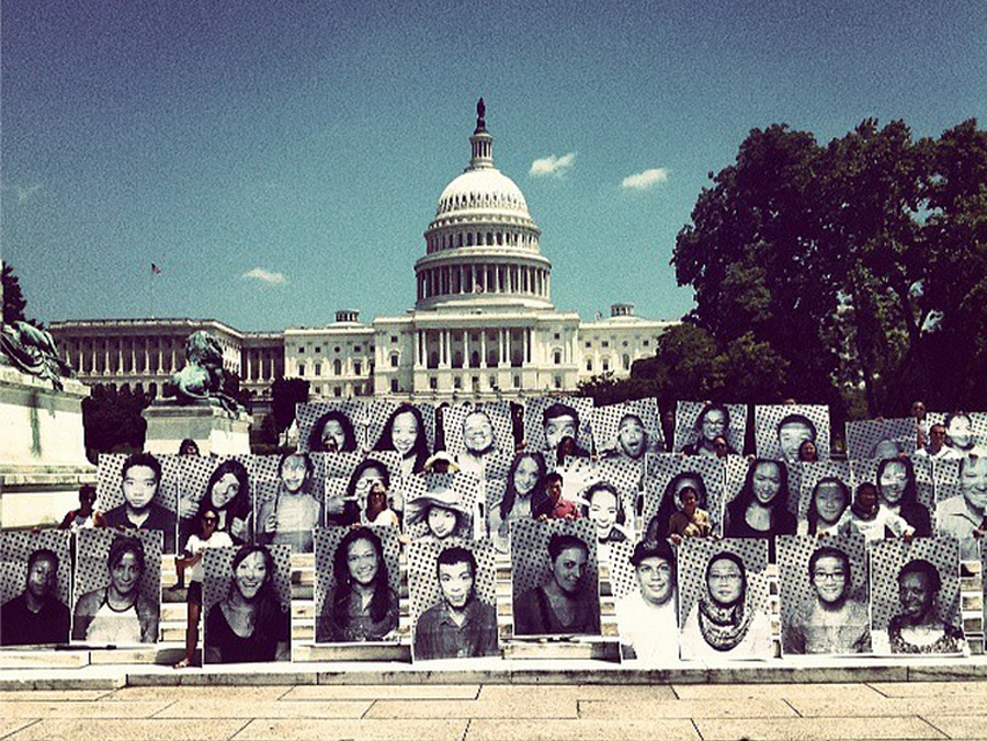 "Washington DC: INSIDE OUT's 11M campaign used participatory portraiture to inspire onlookers to look beyond statistics about undocumented immigrants and into the eyes, hearts, and humanity of all people who ""call America home."""