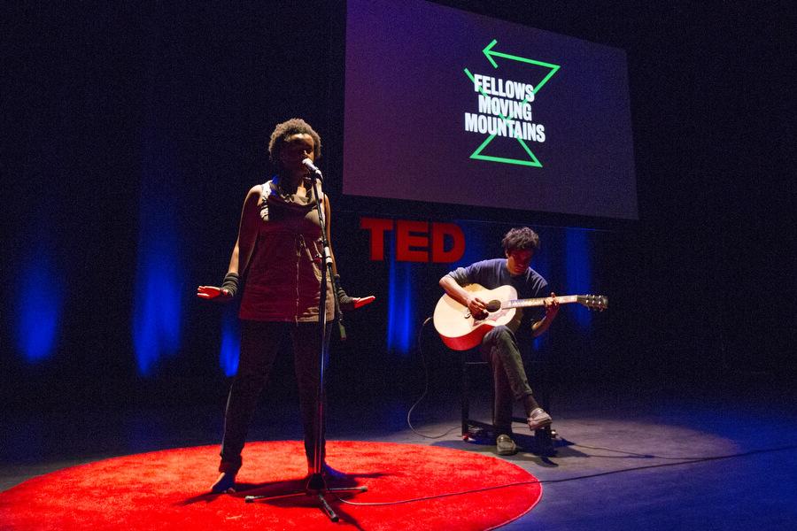 Meklit Hadero, accompanied by Usman Riaz. TEDFellows Retreat 2013. Photo: Ryan Lash