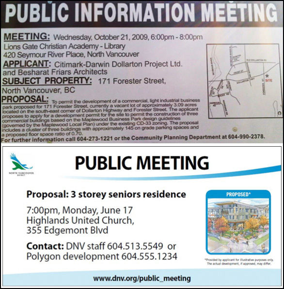 Before and after of North Vancouver's posted notices.