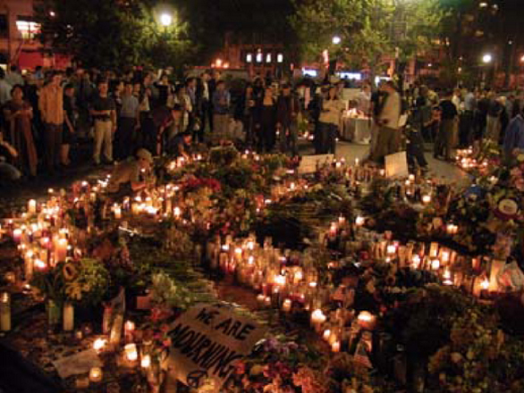 A memorial vigil at Union Square. Submitted by Karen Hill.