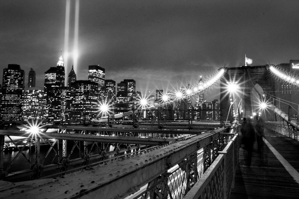 An image of the memorial lights taken from the Brooklyn Bridge. Submitted by Noam Galai.