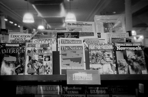 """9/11 dominates the headlines at the Barnes & Nobles in Union Square. This picture is part of """"Post 9/11 Photographs Series."""" Submitted by Kitt Amaritnant."""
