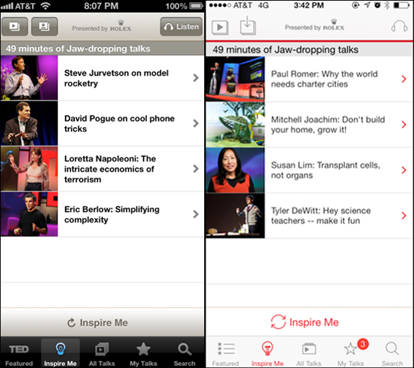 A side-by-side look at the previous TED app, and the updated look for iOS7.