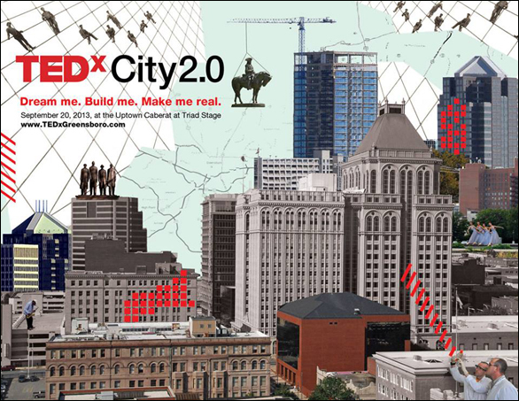 """TEDxGreensboro in North Carolina. Team member Jeff SanGeorge says: """"The focal image is a statue of Nathaniel Greene, for whom our city is named. To see him broken from his moorings and being moved symbolizes that our city is actively being reinvented, and is not tied down to the past."""""""