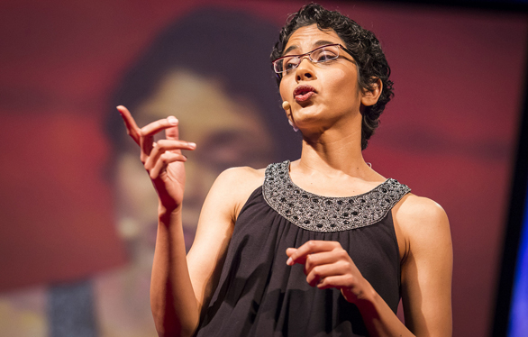 """This image of Abha Dawesar at TEDGlobal 2013 gives an interesting illustration of her concept of the """"digital now."""" We see her ... in front of the digital reflection of herself. Photo: James Duncan Davidson"""