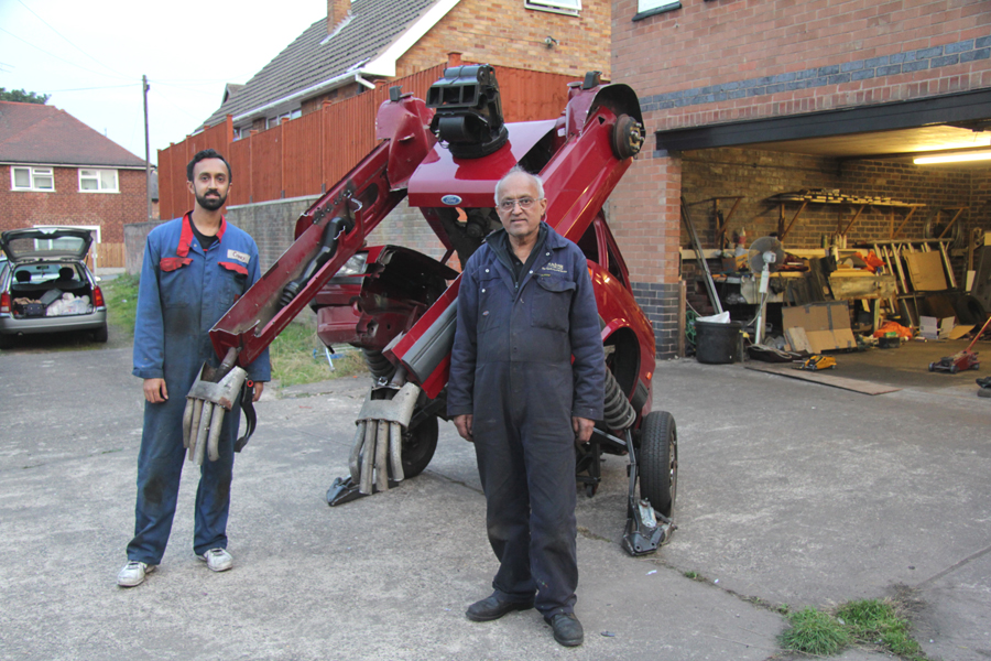 Hetain Patel, his father, and the Fiesta Transformer. Photo: Hetain Patel