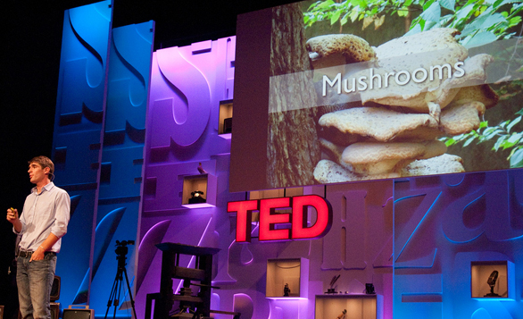 Product designer Eben Bayer is just one speaker whose shared an idea for how mushrooms can save the world on the TED stage.