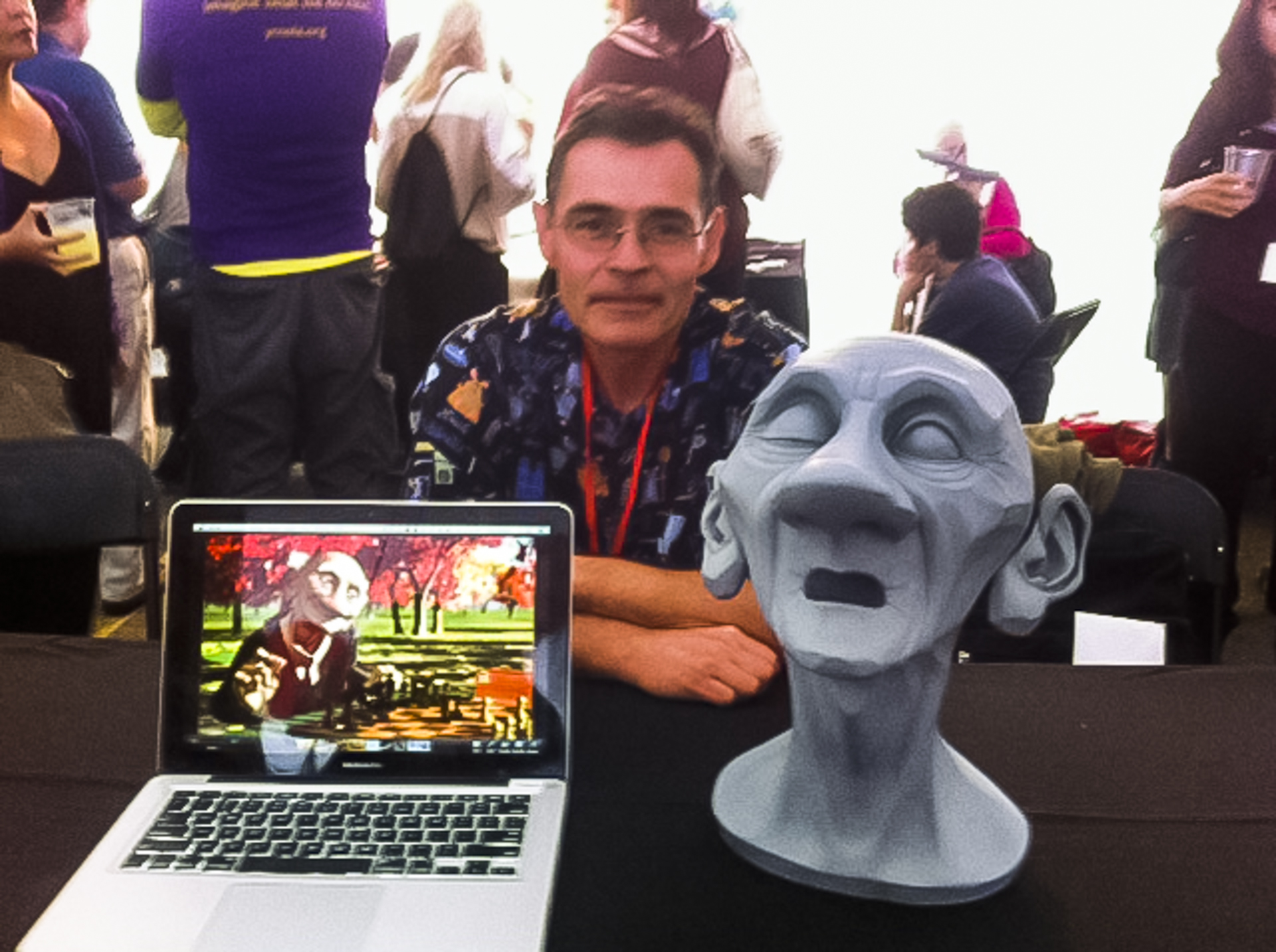 """Attendee Sevanah Howard shot this image of Tony DeRose, a Senior Scientist at Pixar Animation Studios. She explains, """"He designed this really cool model of the old man playing chess. It was amazing to see what he could do with animation."""" Photo: Sevanah Howard"""