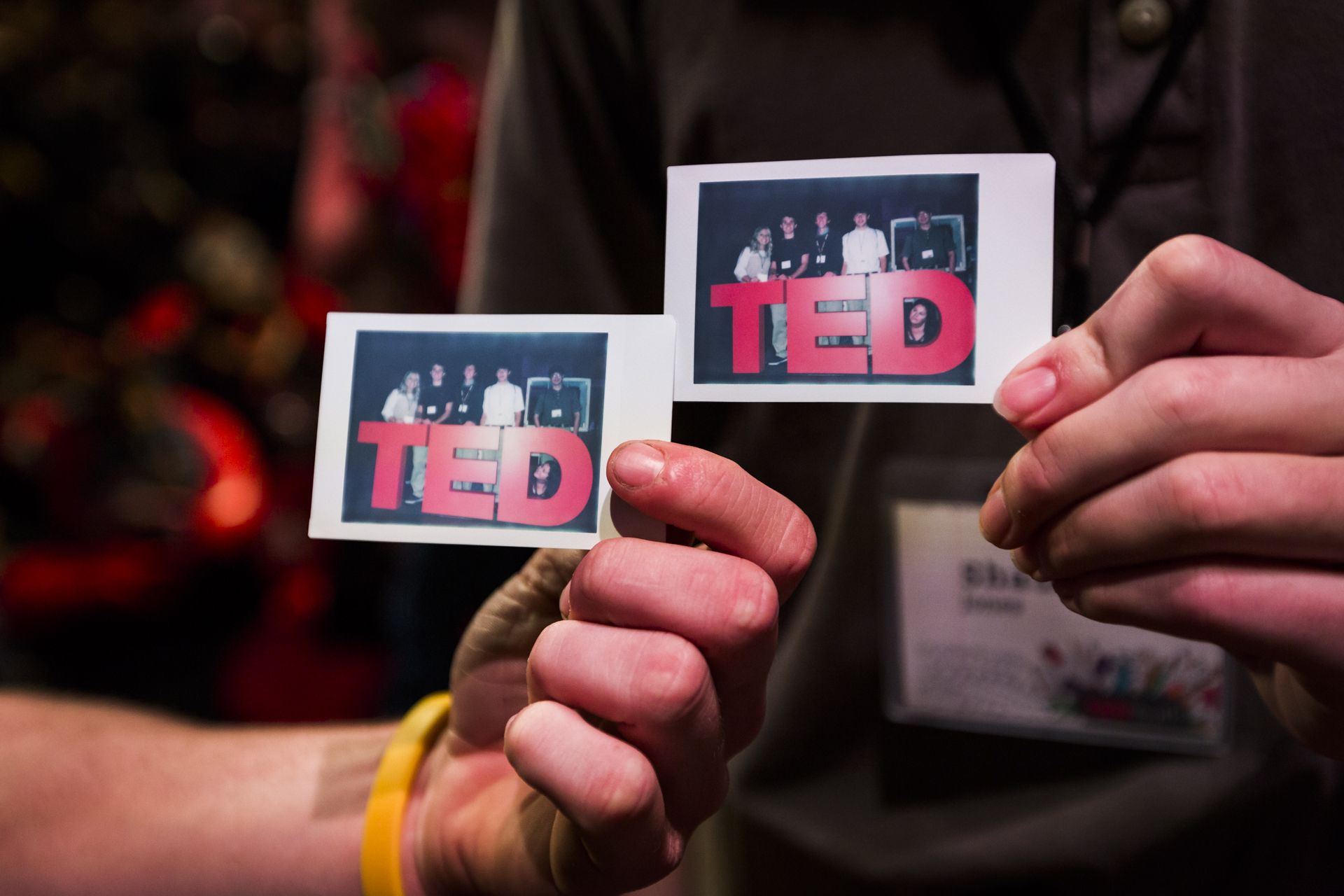 During breaks, kids and teens at TEDYouth got to snap photos of themselves with the TED logo. Photo: Ryan Lash
