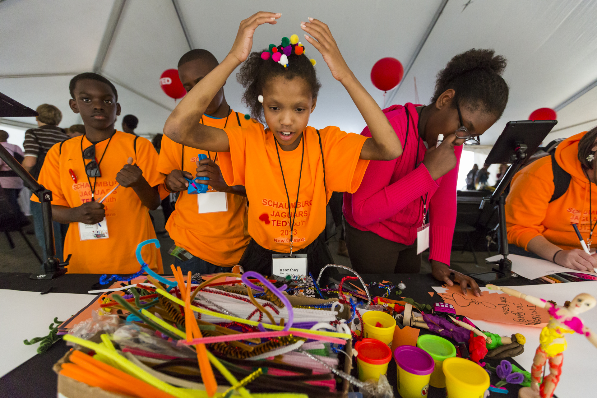 During the breaks at TEDYouth, attendees were asked to use their creativity and create something. Photo: Ryan Lash